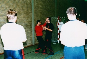 SIFU SERGIO TEACHING THE DUTCH MILITARY IN WING TJUN FIGHTING TACTICS CHAIN PUNCHING EINDHOVEN NETHERLANDS 2002