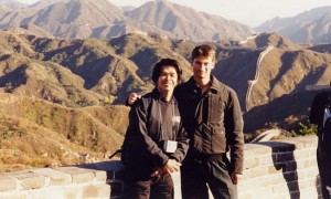 WITH SIFU HAWKINGS CHEUNG TRAINING PARTNER AND FRIEND OF BRUCE LEE ON THE GREAT CHINESE WALL 2001 BEIJING CHINA
